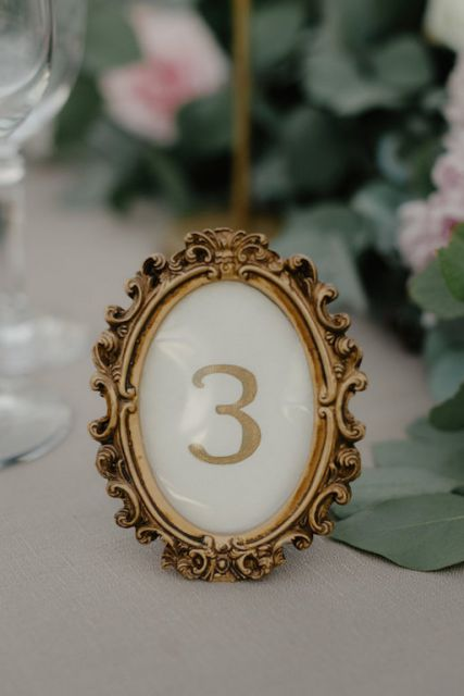 gold vintage frame for table number