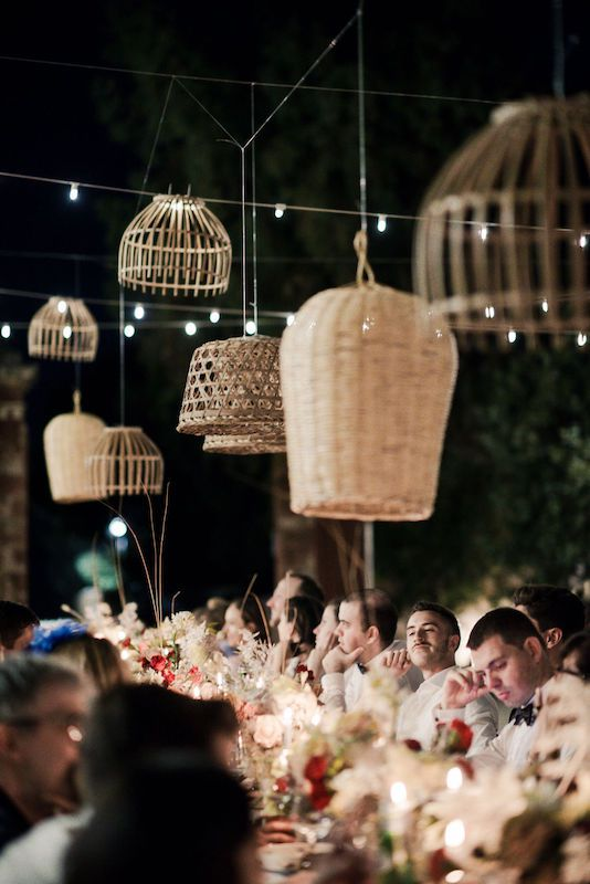 Basket used like chandeliers are the goal for a rustic wedding