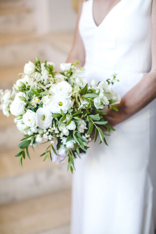 bouquet for the bride with white lisianthus