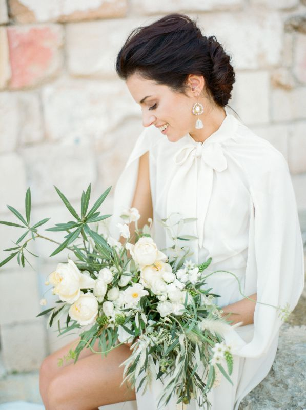 Bouquet for the bride with oleander, olive leaves and white flowers. Stylist Joy Proctor for Ostuni Workshop in Italy