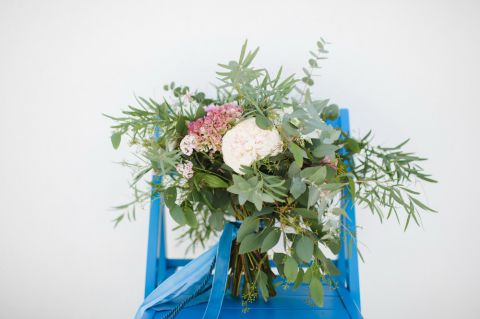 rustic boho bouquet for the bride with greenery