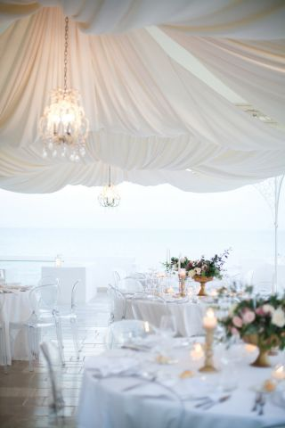 floral decor for wedding on the sea
