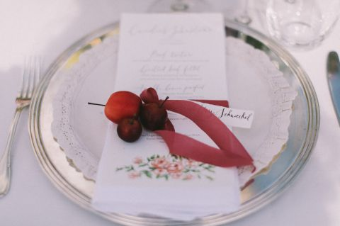 place card, menu, silk ribbon for napkins