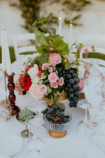 vintage centerpiece with black grapes