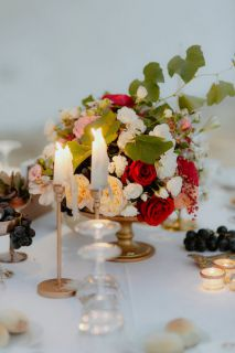 vintage centerpiece with candlesticks
