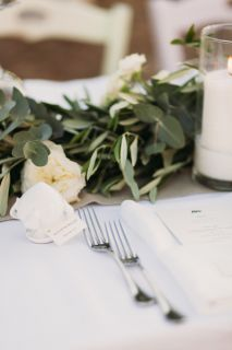 olive leaves and david austin roses for wedding centeripiece