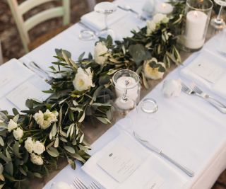 floral runner for wedding centerpiece