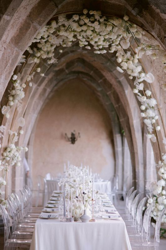 Flower ceiling for wedding reception in the crypt of Villa Cimbrone
