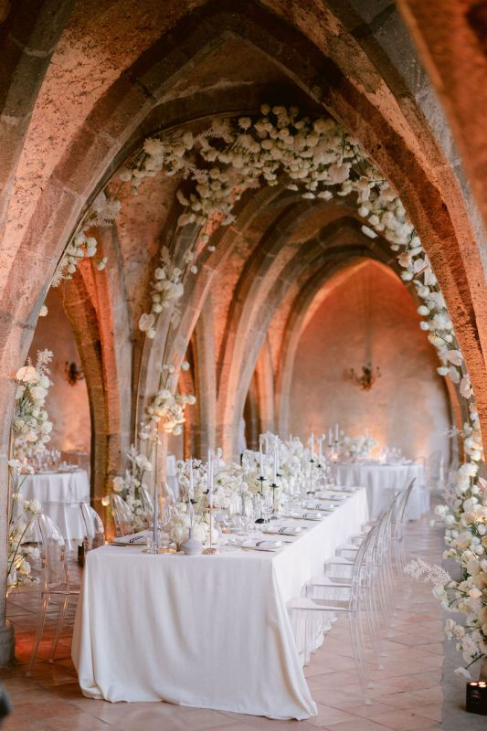 Flower ceiling for modern elegant classy wedding in Italy