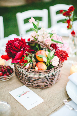 baskets with flowers for wedding