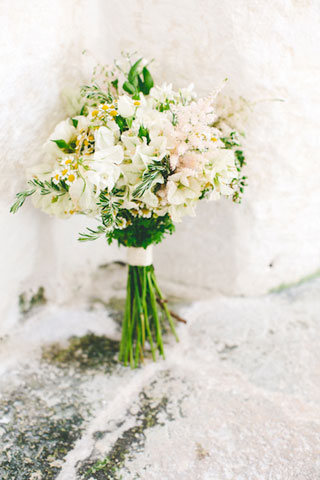 bridal bouquet with white bougainvillea