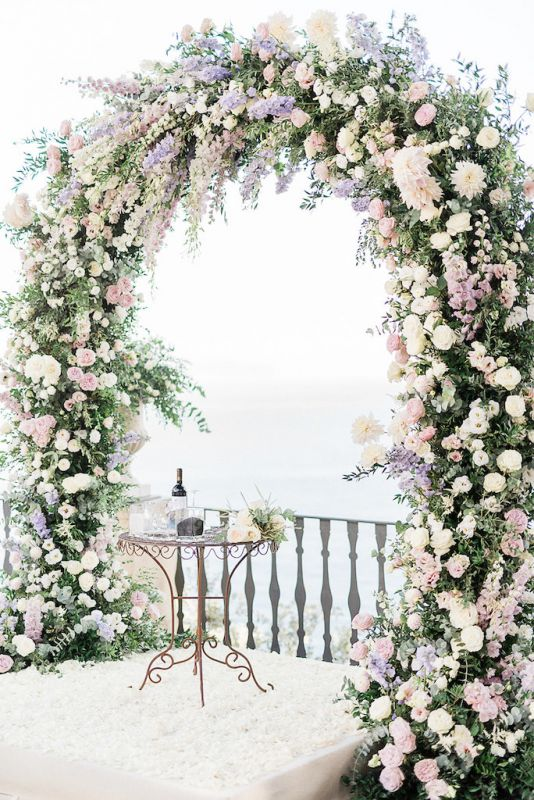 floral arch pink and dusty blue