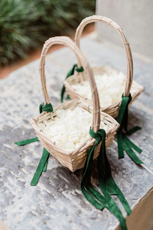 Flower girls baskets with green velvet ribbons