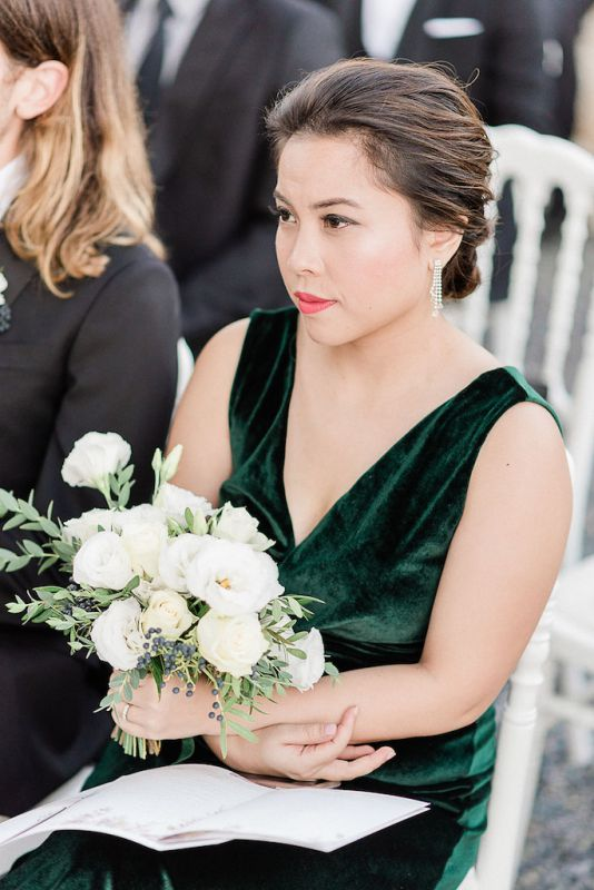 Bouquet for the bridesmaids with green velvet dress