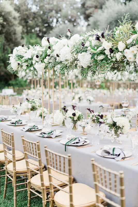 Tablescape with white and burgundy flowers