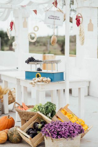 food market style apertif for wedding