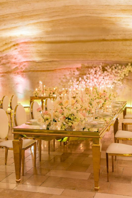 Floral backdrop for bride and groom table