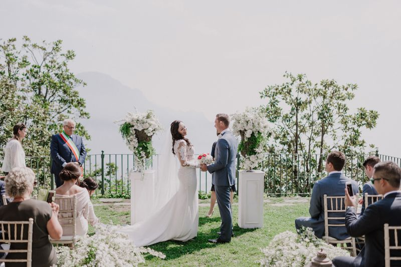 Wedding ceremony on a sea front terrace in Italy