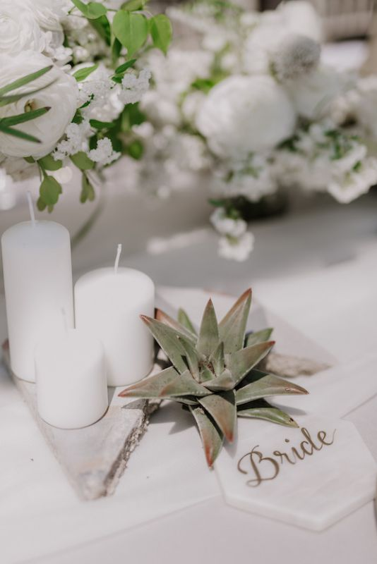 succulents and candles for a unique table decoration