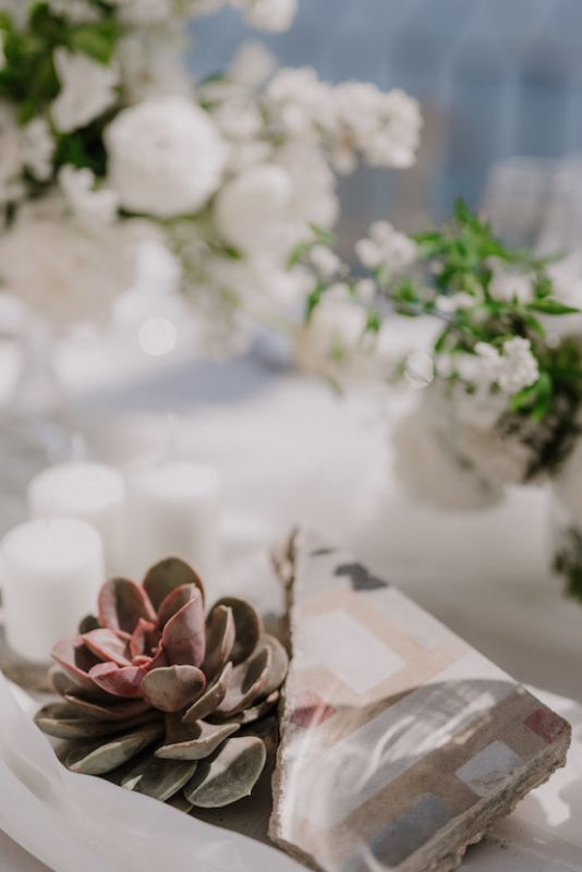 wedding decor with succulent and flowers