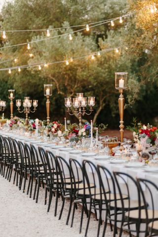lot of candles for wedding table