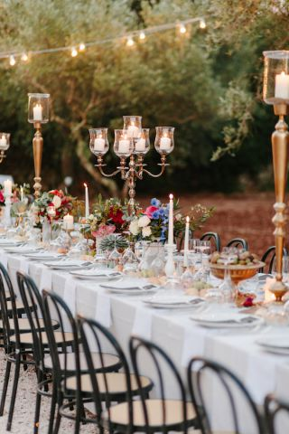 Gold candelabra for rustic wedding