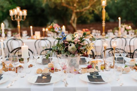 beautiful centerpiece for country chic wedding