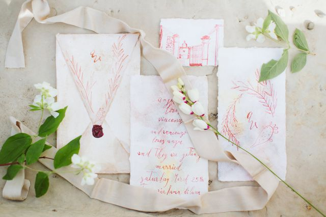 stationery, invito in calligrafia, acquerello