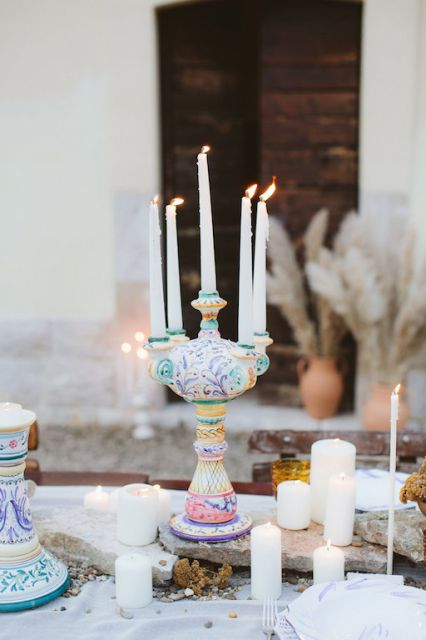 colorful pottery candelabra