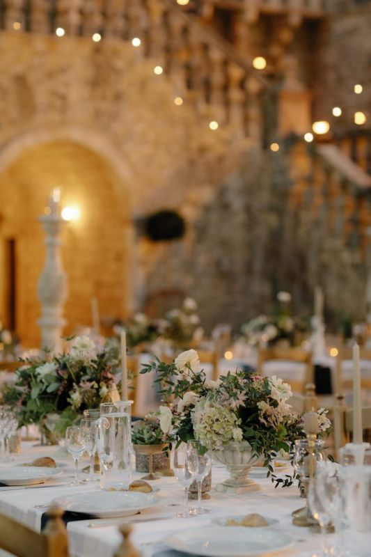 centerpiece for wedding at castello marchione