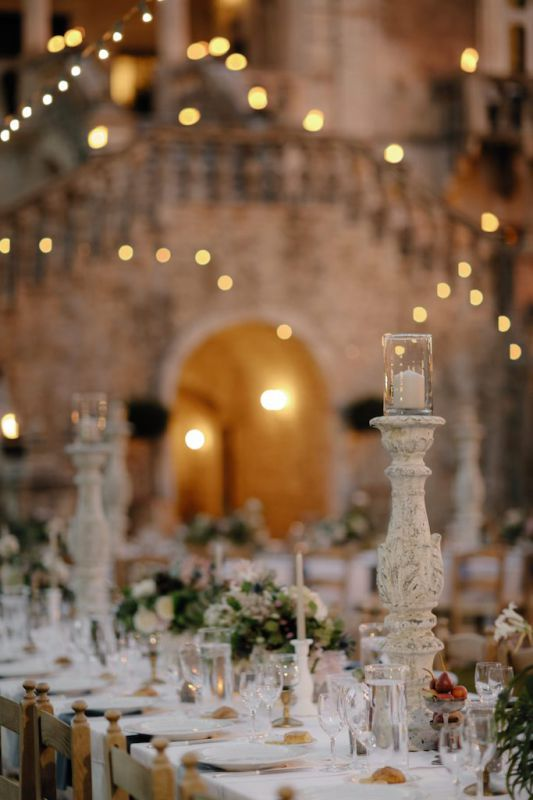 Candlesticks for centerpiece at castello marchione