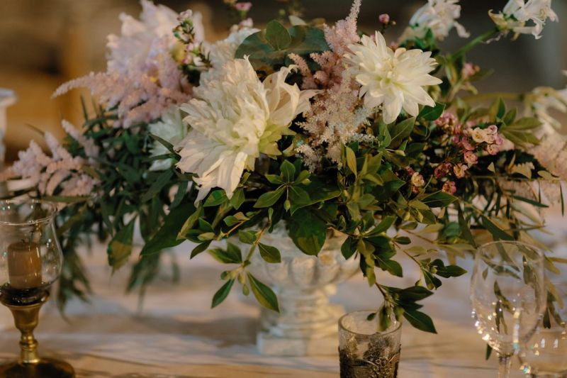 flower arrangement with dahalias and astilbe for centerpiece