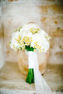 bridal bouquet peonies and chamomile
