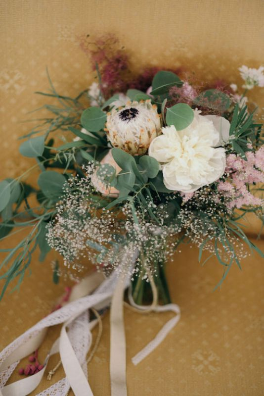 special boho bridal bouquet with protea