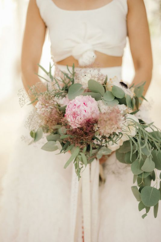 boho bouquet with peonies and gypsophila