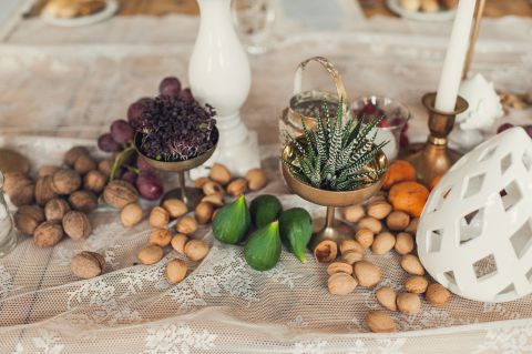 natural centerpiece with seasonal fruit