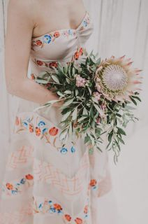 strange bridal bouquet with olive leaves