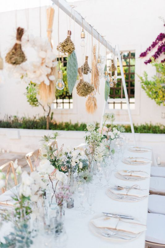 Flowers arrangements for typical apulian centerpiece