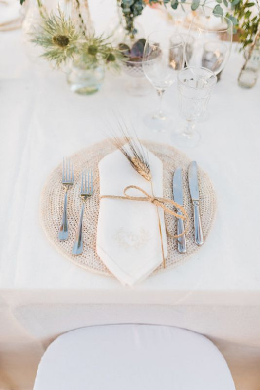 Place holder idea for boho wedding in Italy
