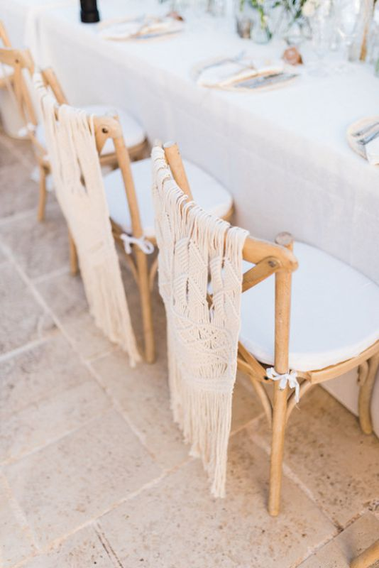 Chairs decorations for wedding with macrame
