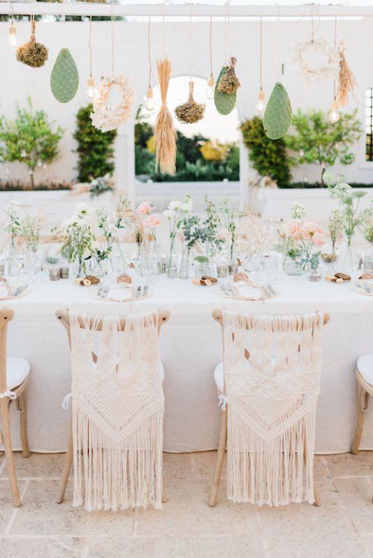 Chairs decoration with macrame